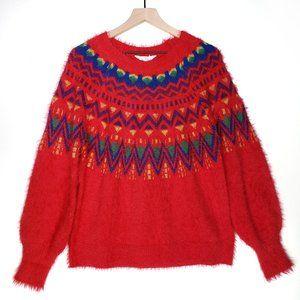 NEW Fuzzy Fair Isle Ugly Christmas Sweater